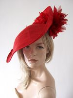 Red Handmade Saucer Hat Hatinator . Red Royal Ascot Designer Hat. Red hat for weddings, Red Mother of the Bride Hat. Red hat to wear with a Red Dress. Red Roses Kentucky Derby Hat